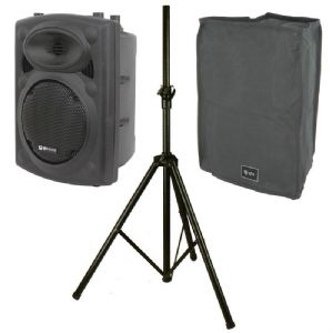 "QTX QR10 300W 8-Ohm 10"" Passive DJ Band PA Speaker or Monitor + Stand + Cover"